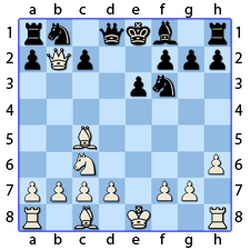 Chess Image 18: His Queen takes the Knight's Pawn on the Lady's side