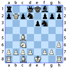 Chess Image 19: Moves his Queen's Knight to two points of the Queen
