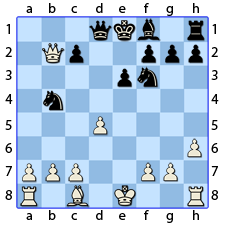 Chess Image 29: His Lady's KNight takes the King's Bishop to four spaces from his line