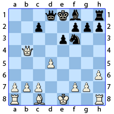 Chess Image 30: His Queen takes the Lady's Knight, who was at four places from his seat, and checks