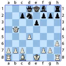Chess Image 31: His King is covered by his knight, two places from the Queen